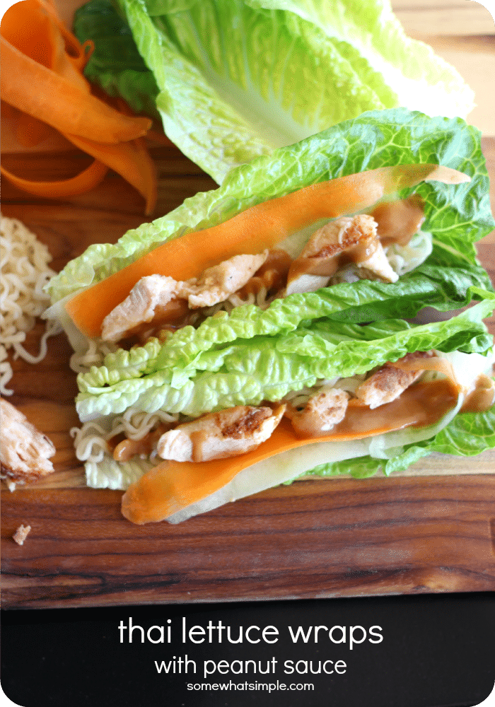 Thai lettuce wraps are an easy appetizer or dinner idea. via @somewhatsimple