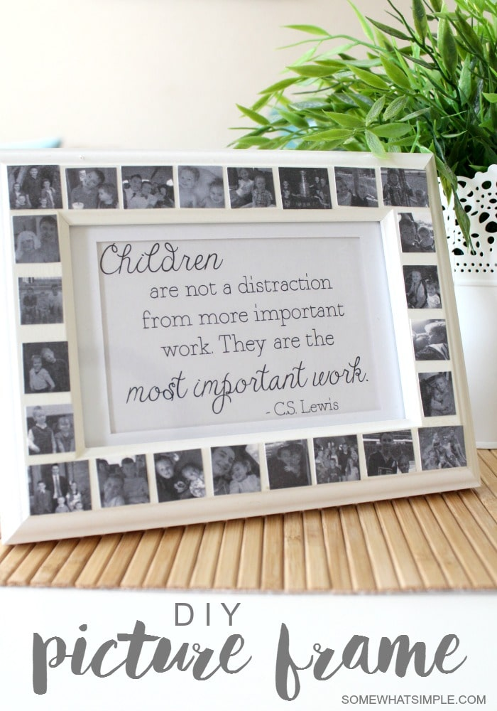 This simple Mod Podge Frame can be made in just a few minutes for $10 or less! It is a thoughtful gift for someone you love! #modpodge #frame #giftidea #mothersday #frame #project via @somewhatsimple
