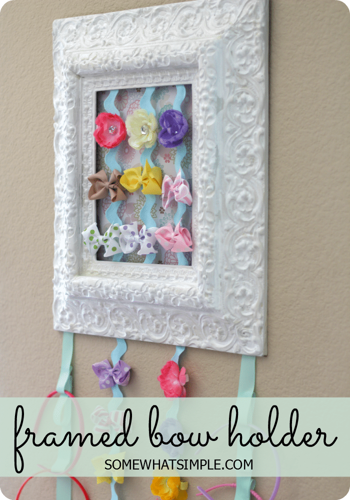 Ribbon Framed Bow Holder - Easy DIY Tutorial by Somewhat Simple