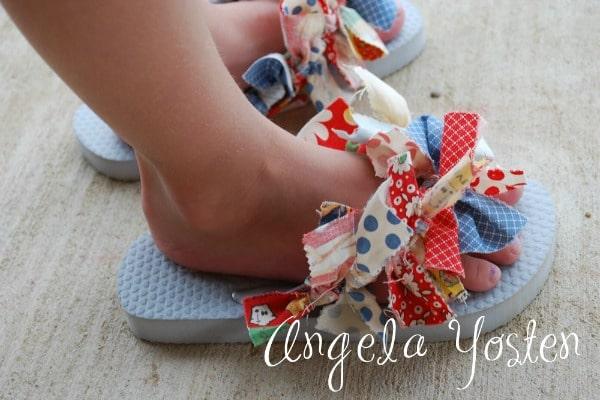 scrap fabric flip flops
