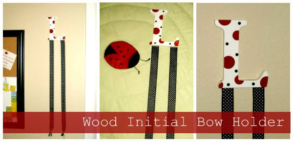 Wood Initial Bow Holder