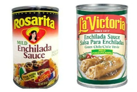 a picture of a can of la victoria green enchilada sauce which is the brand I use for this easy recipe