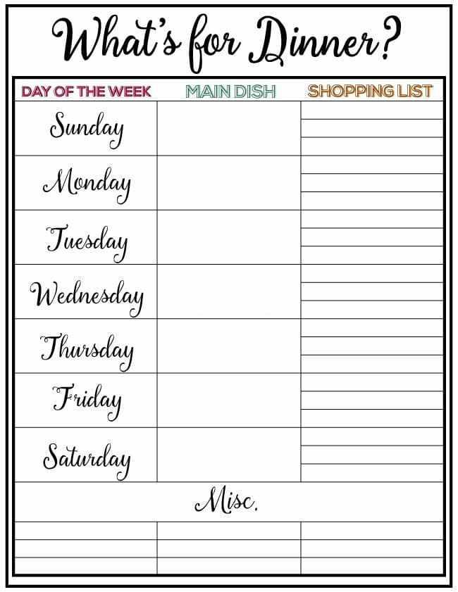 weekly menu plan free printable