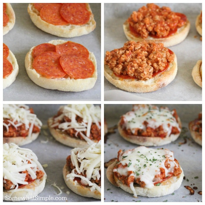 a step by step collage of how to make pizza burgers
