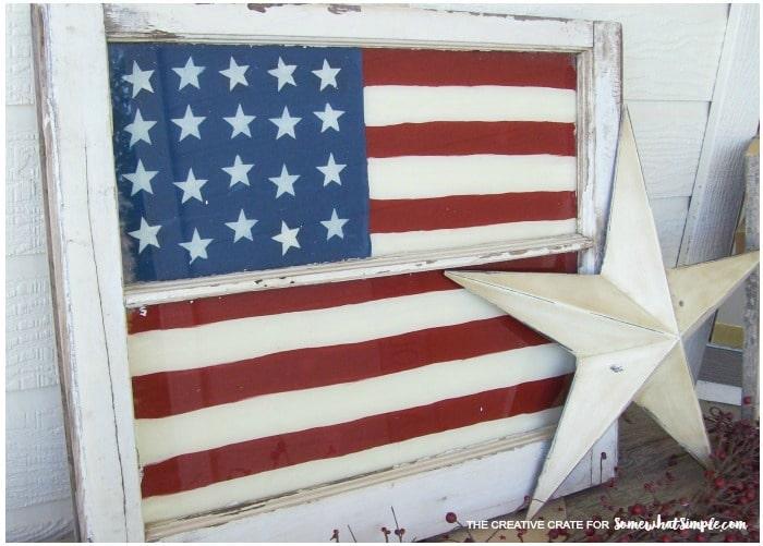 vintage painted window flag 3