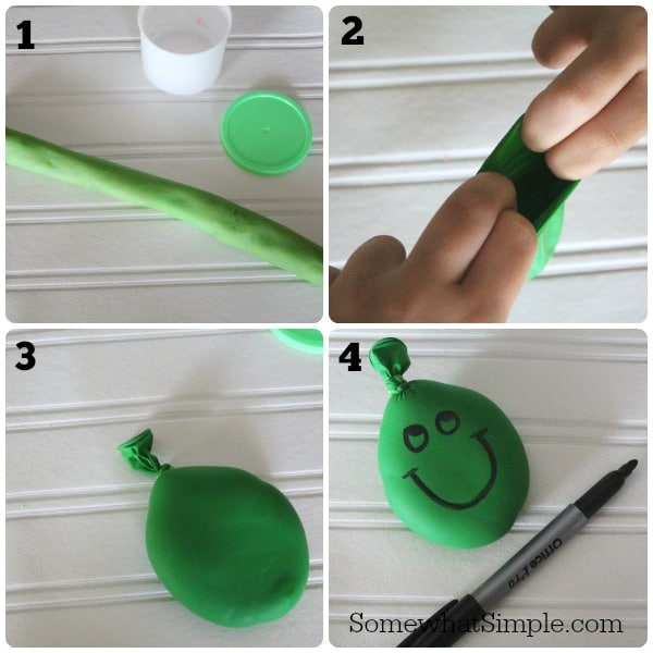 a 4 step picture collage showing each step in the process of making a stress ball using a balloon