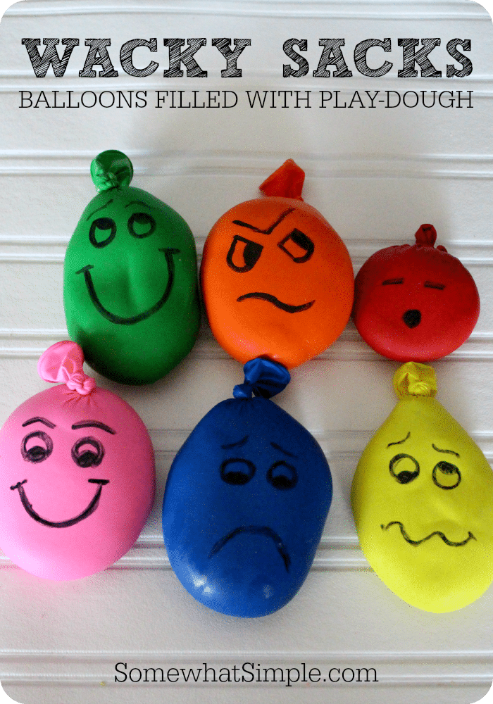Wacky Sacks  Balloons filled with Playdough  Somewhat Simple