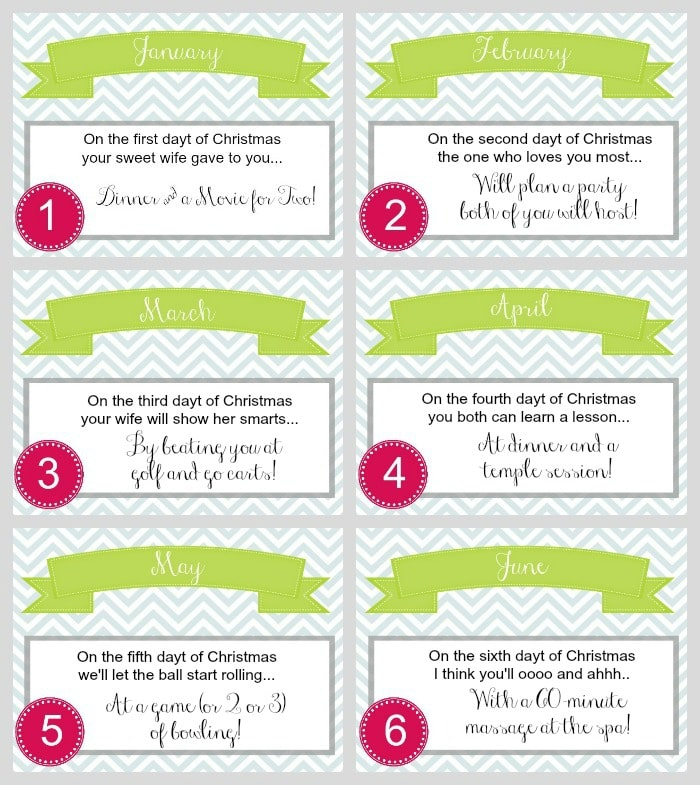 12 daytz of christmas for Coupon book template for husband