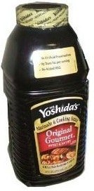 a bottle of Yoshidas teriyaki sauce