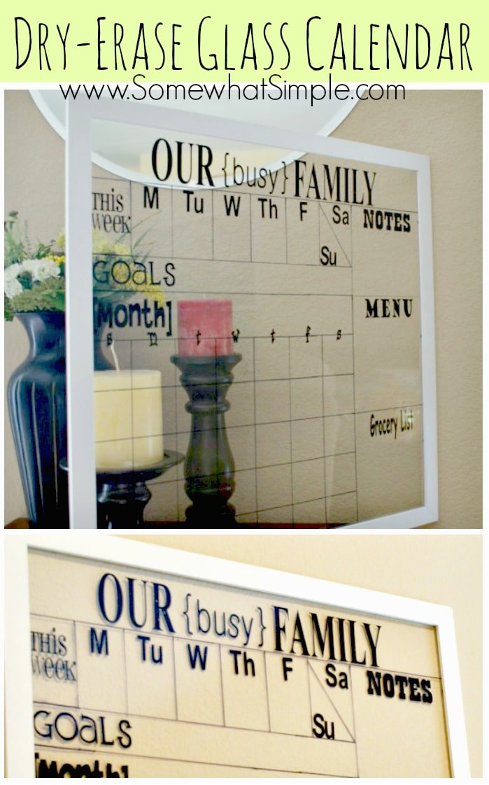 Dry Erase Calendar From A Glass Frame