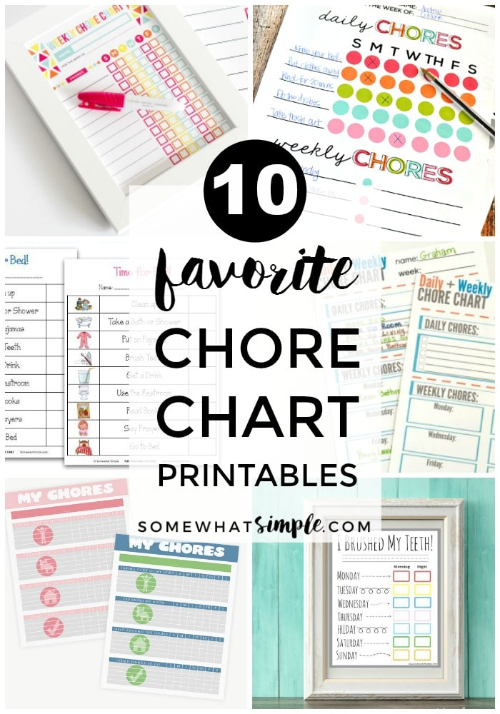 Our 10 favorite chore charts for kids are the perfect way to get some help around the house! via @somewhatsimple