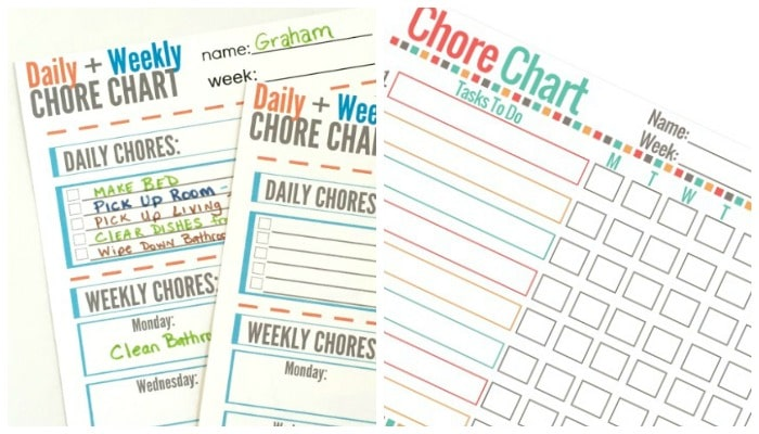 printable chore charts for kids