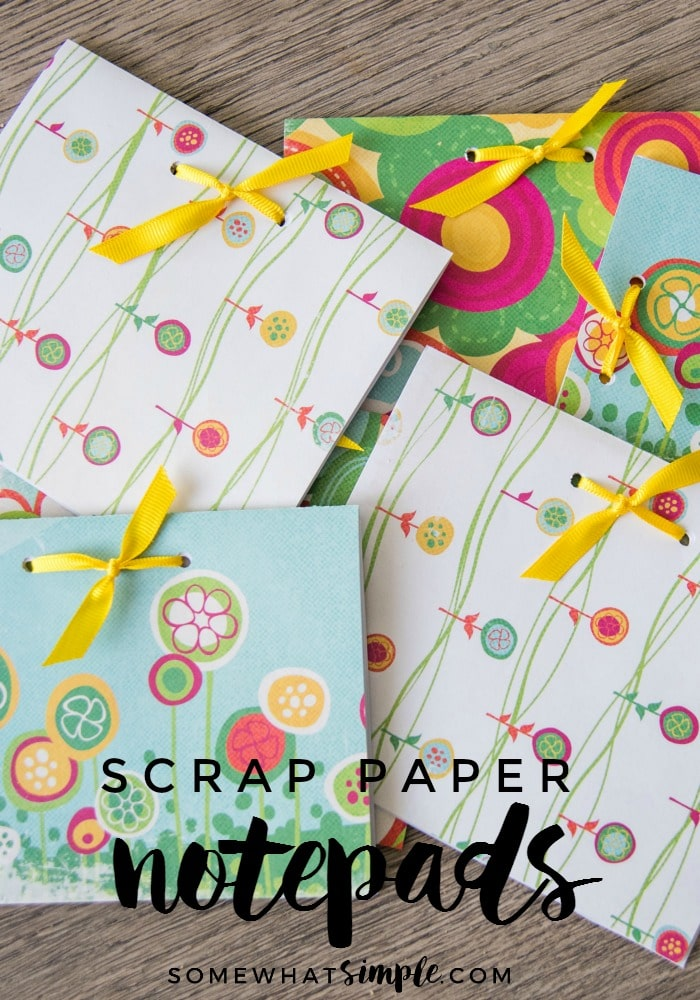 Don't throw away those fliers and old school work! Make these darling scrap paper notepads - so simple and useful + Mother Earth will thank you!  via @somewhatsimple