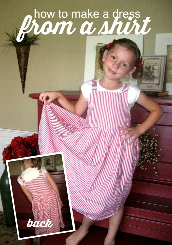 A sewing project from items in your husbands closet - here is how to make a dress out of a shirt! via @somewhatsimple