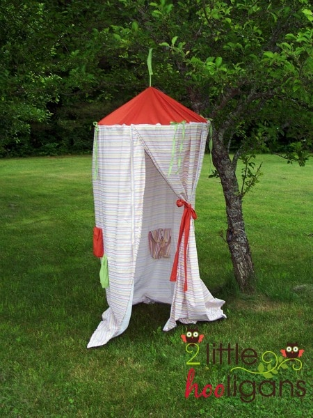 This simple play tent tutorial is a beginner sewing project that should take you 2- & Hanging Play Tent Tutorial - A Hideaway for Kids - Somewhat Simple