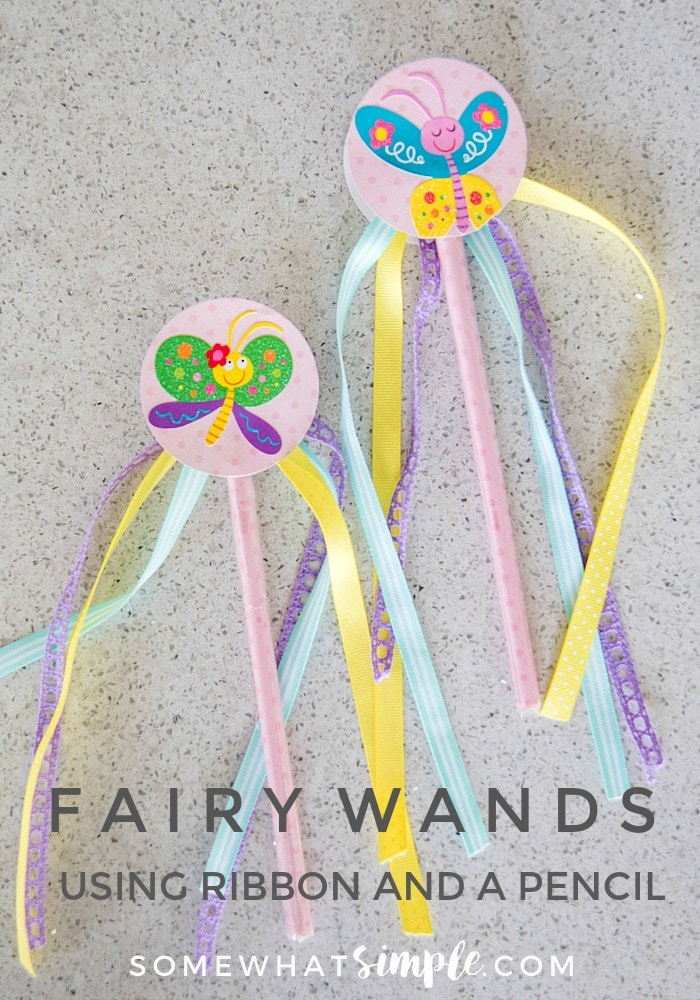 Every little girl needs their own wand, right? Make your own fairy wand with a pencil + ribbon! via @somewhatsimple