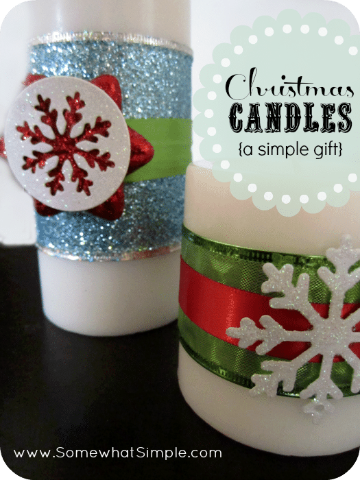 Simple holiday gift christmas candles with a free printable for Christmas candle gift ideas