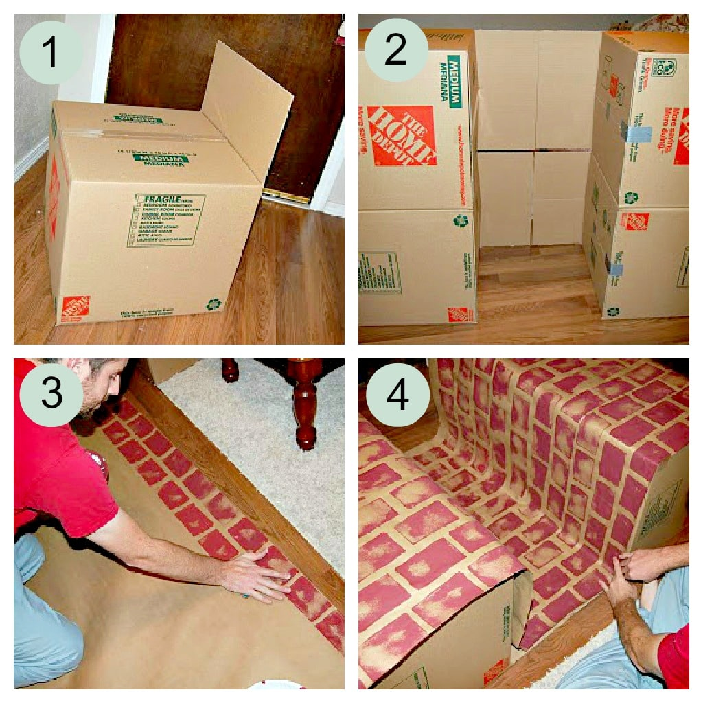 This Faux Fireplace tutorial will teach you how to make a fake cardboard fireplace that is a great alternative for hanging your stockings during Christmas.