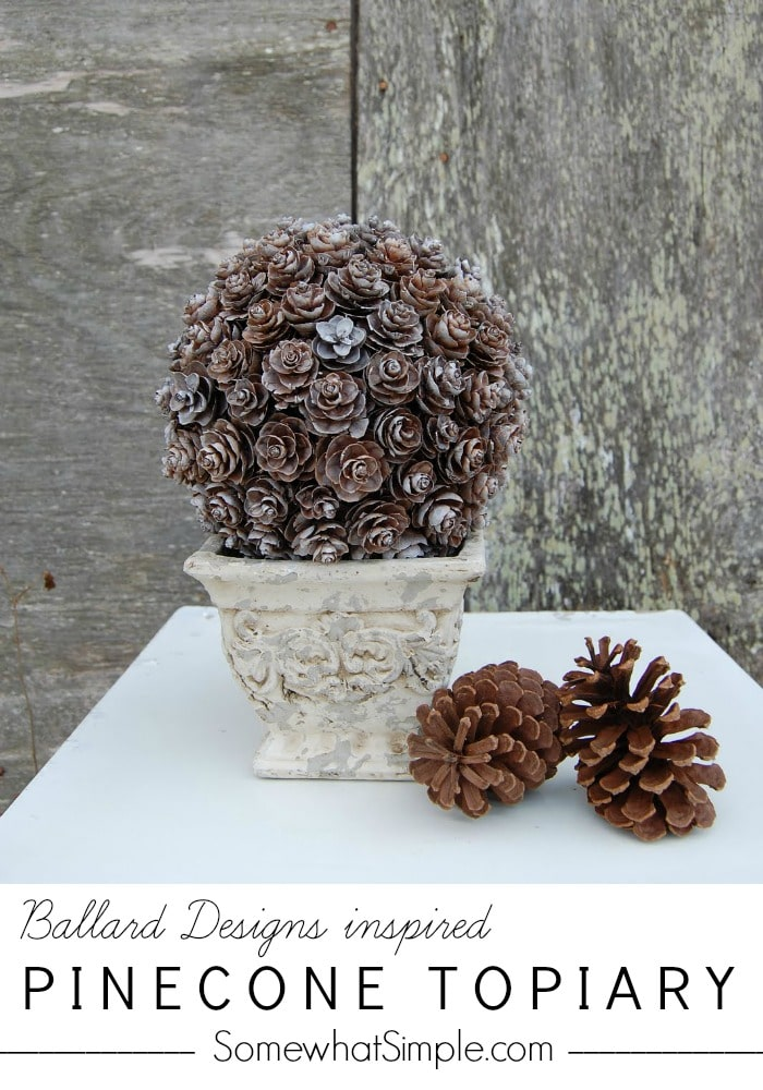 This pinecone topiary is a fun project to make during the holidays. These step-by-step directions will make the whole process super easy. Now you can have your own professional looking topiary for a fraction of the cost. via @somewhatsimple