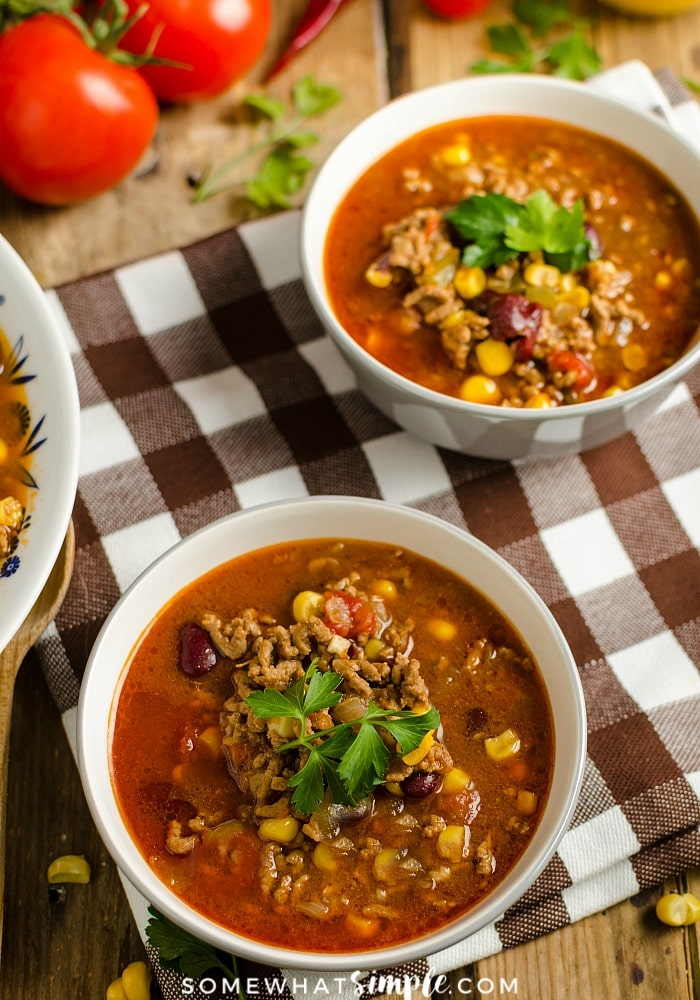 bowls of taco soup that was made in a slow cooker