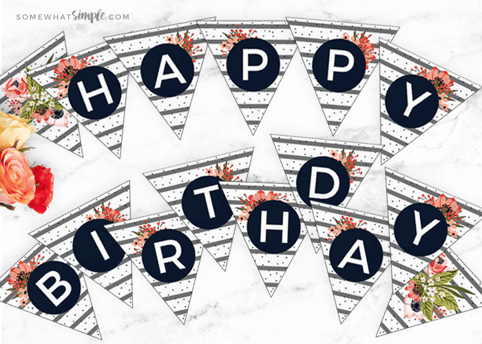 floral birthday banner printables somewhat simple