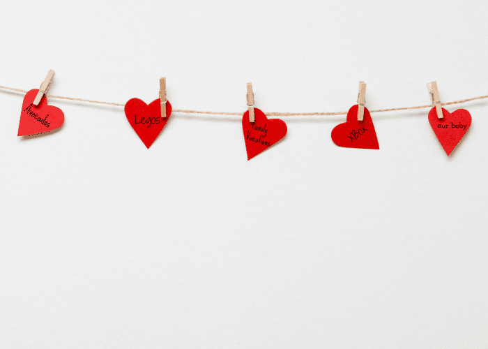 Valentine Garland made with paper hearts