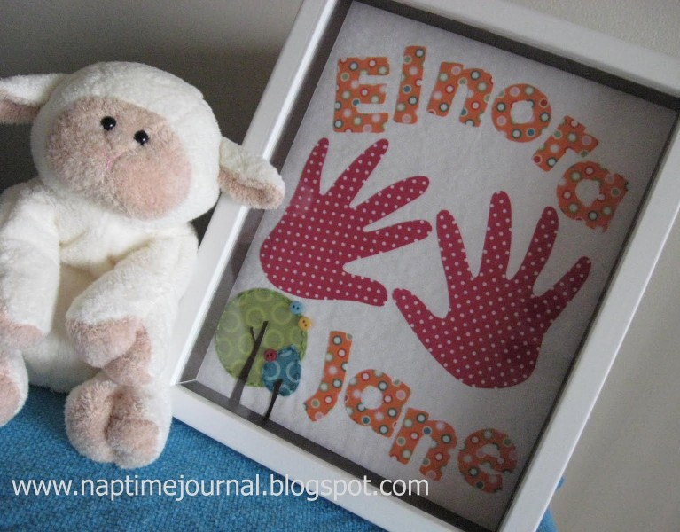framed fabric handprints