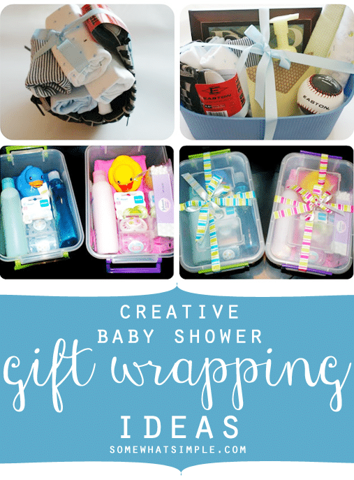 creative baby shower gift wrapping idea by somewhat simple, Baby shower invitation