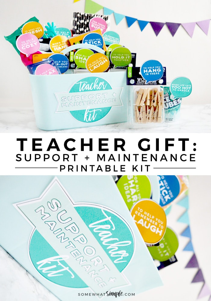 This darling + creative Teacher Support and Maintenance Kit is a great & clever way to thank those wonderful teachers! Get your colorful printables now! #teacherappreciation #teacherappreciationideas #printable #teachergifts #giftidea