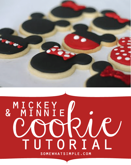a baking sheet lined with parchment paper filled with DIY mickey mouse and minnie mouse cookies.  The sugar cookies are in the shape of mickey and minnie mouse heads with black icing.  Some have hair bows and others have red pants for Mickey with two white dots..  At the bottom of the image, in a red box, the words mickey & minnie cookie tutorial is written in white letters.