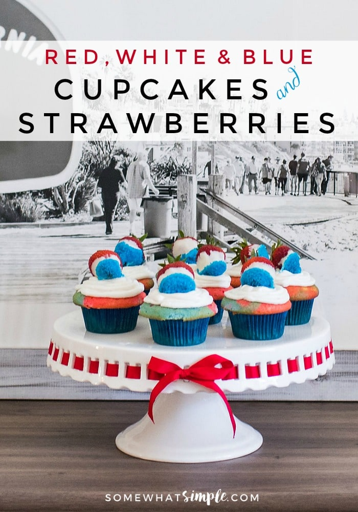 These delicious 4th of July cupcakes are red, white and blue with matching festive strawberries on top!!