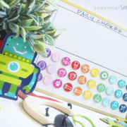 a magnetic chore chart for kids with colorful DIY magnets you can make with these printables