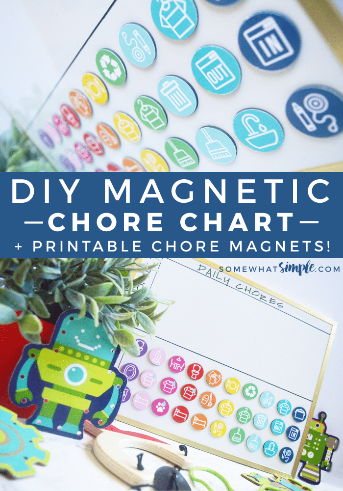 Magnetic kids chore chart with printables somewhat simple