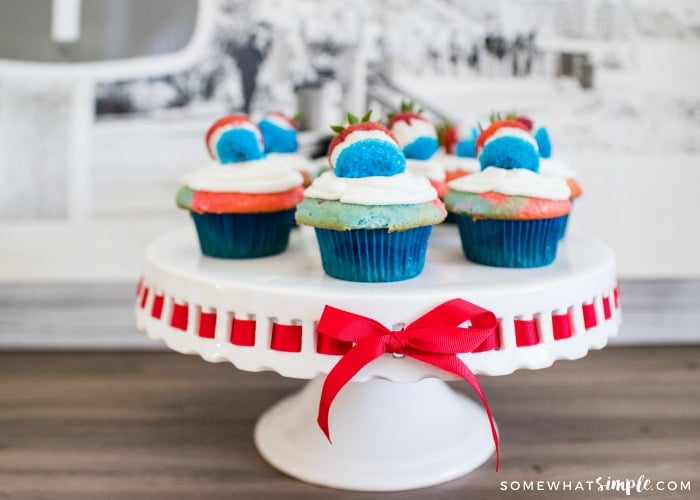 Red, White and Blue 4th of July Cupcakes