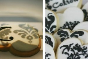 using a projector to create damask print cookies