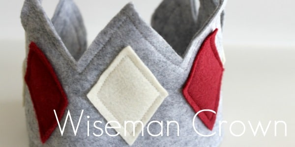 how to make a crown tutorial showing the finished grey felt crown with white and red felt diamonds