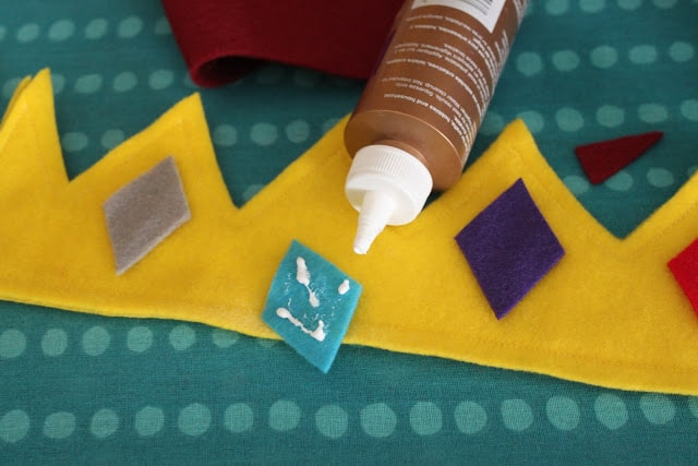 when making a crown there's an alternative to sewing on the diamonds. You can use tacky glue to glue the diamonds to the felt crown.