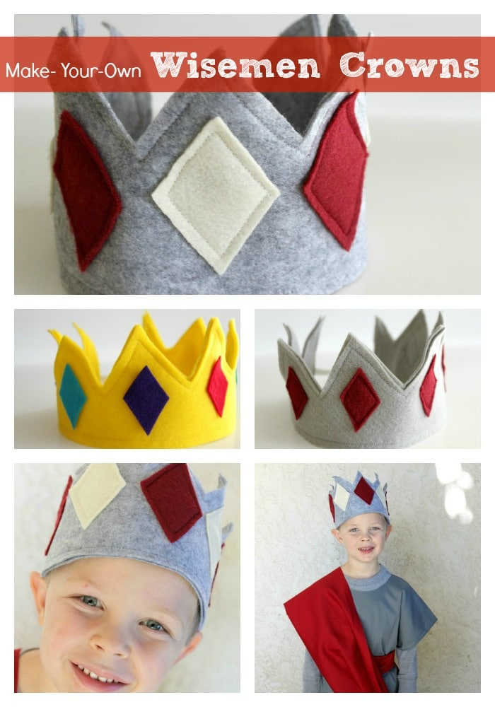 how to make your own crown with pictures of three different felt crowns and a picture of a boy wearing a finished crown