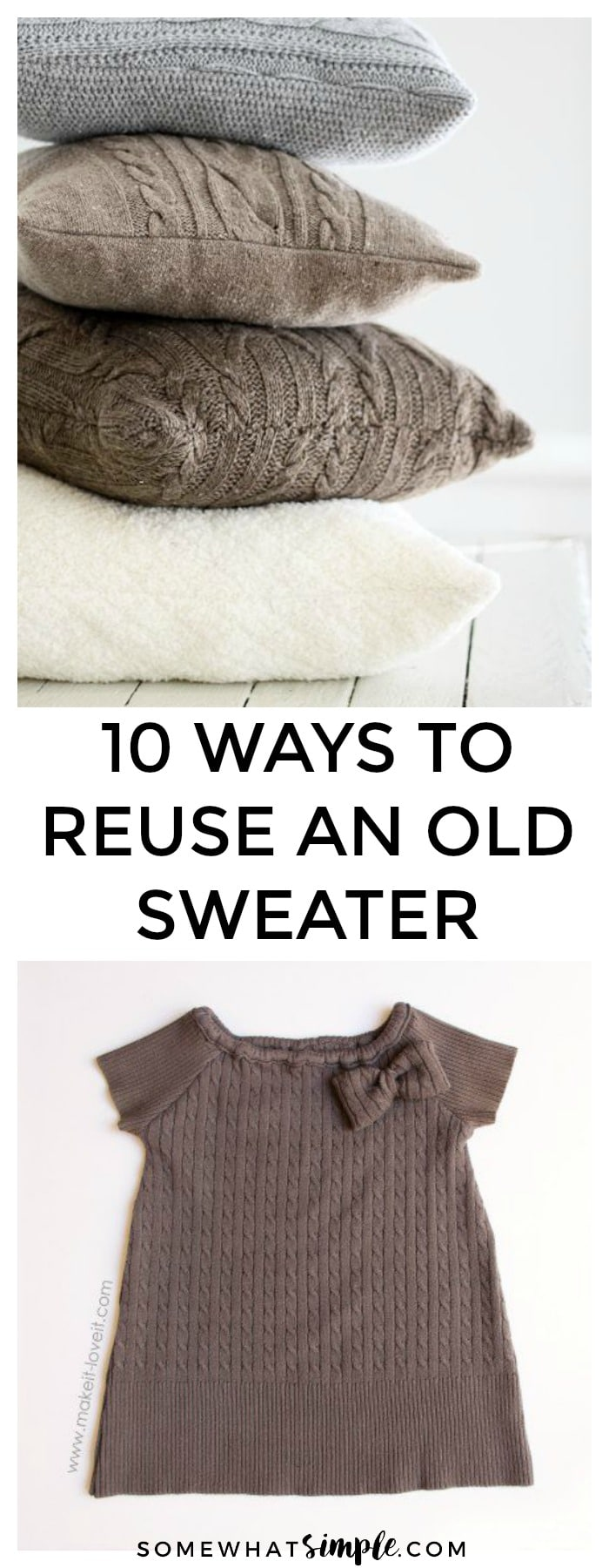 Before you toss your old, unwanted sweaters, think again. Here are 10 Not So Ugly Christmas Sweater Ideas that will turn even the ugliest of sweaters into something cute and functional! via @somewhatsimple