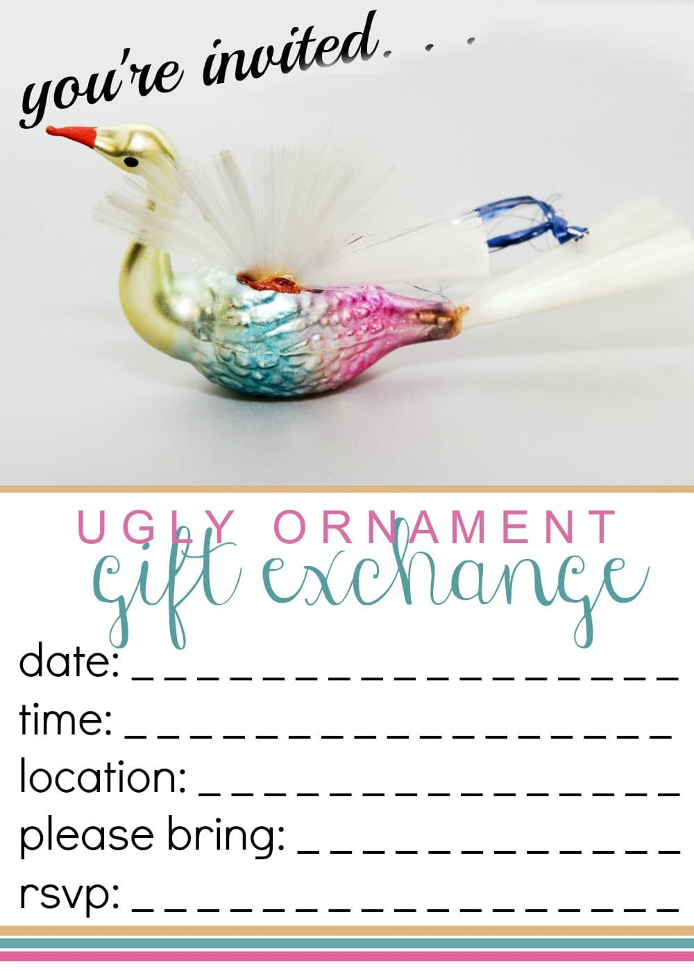 ugly ornament gift exchange invite