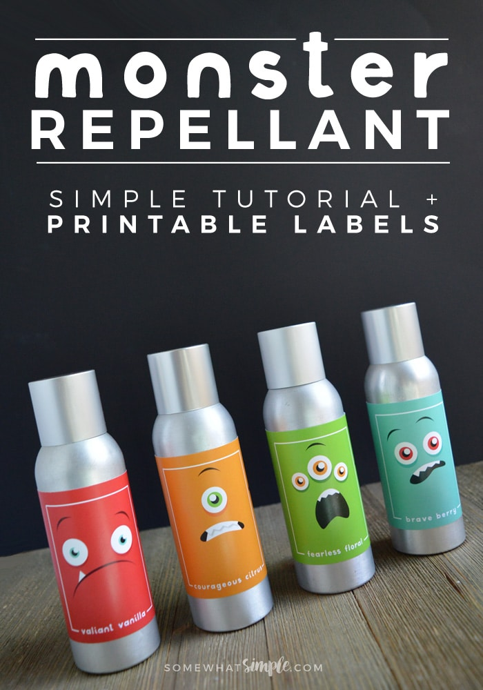 Kids and parents alike will love this easy-to-make Monster Repellant! Make your own Monster Spray to rid the scary creatures that come out at night!  via @somewhatsimple