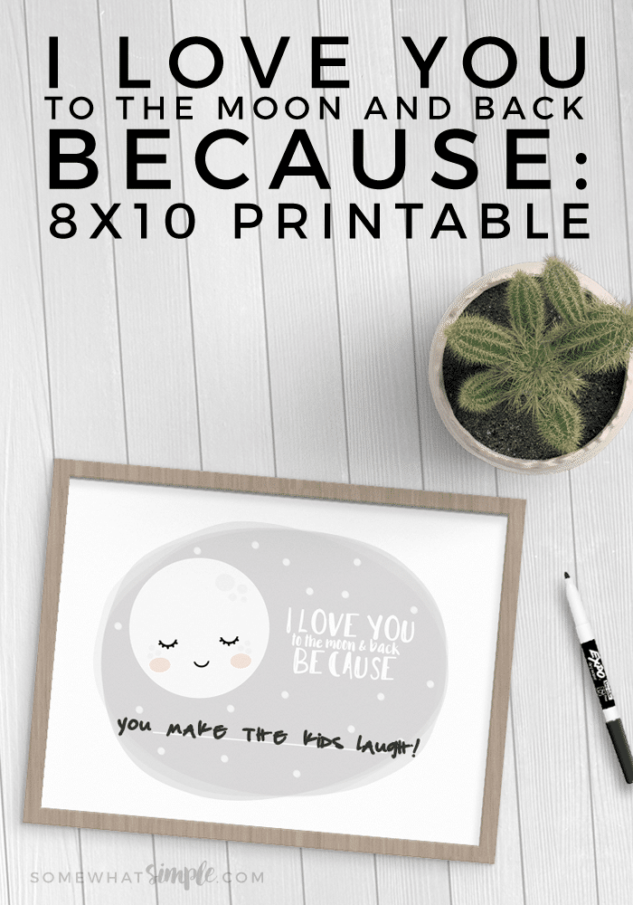 We can't get over how adorable + sweet this I Love You Because Printable is! The perfect way to let your spouse know why you love them (to the moon and back)!