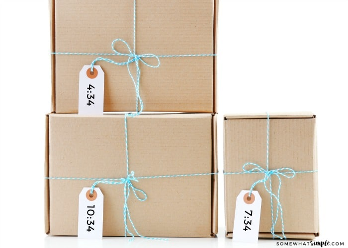 This Gift Idea For Your Husband Shows Three Boxes Wrapped In Blue Twine With A
