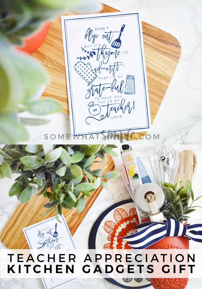 This Teacher Appreciation Kitchen Gadget Gift could not be any easier to create! Perfect for those teachers who love to cook, and love a good pun! #teacherappreciation #teacherappreciationideas #giftidea #freeprintable #teacher