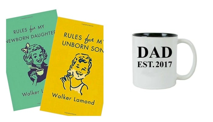 these books and coffee mug are cute Fathers Day Gifts for a new dad