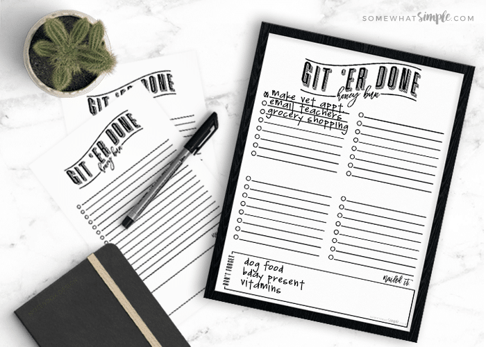 printable to do list git er done honey bun somewhat simple