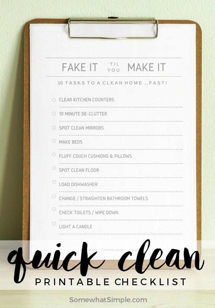 Quick clean checklist How to fake clean a house
