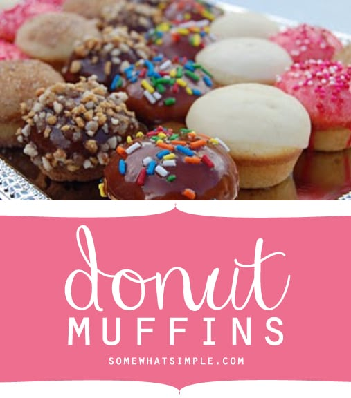 Donut Muffins via @somewhatsimple