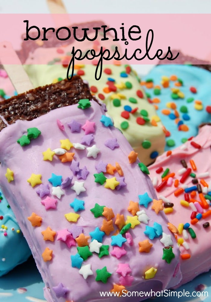 pastel colored popsicle brownies with sprinkles
