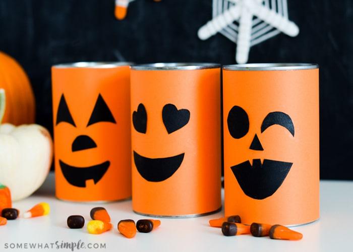 Tin Can Pumpkin Faces